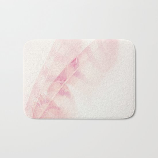Pink feathers on a soft pastel background - beautiful and dreamy Bath Mat