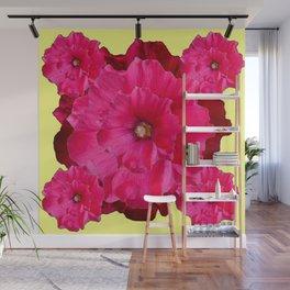 YELLOW FUCHSIA-PINK  DOUBLE  HOLLYHOCK FLOWERS GARDEN Wall Mural
