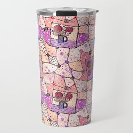 Vintage Grandma Quilt, Textured Watercolor Lavender Purple Flower Quilting Pattern Illustration Travel Mug