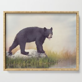 Young American Black Bear near water Serving Tray