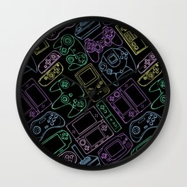 Video Game Controllers in Neon Colors Wall Clock
