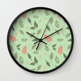 Green Pink Floral Leaf Plant Pattern Wall Clock