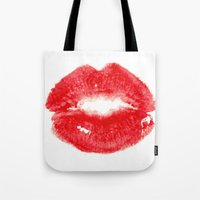 kiss Tote Bags featuring Kiss by Paint the Moment