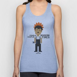 Charlie Chaplin - Modern Times - minimal movie Poster, cartoon version Unisex Tank Top