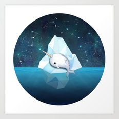 Baby Narwhal on Iceberg Art Print