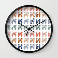 nike Wall Clocks featuring Colored Nike sneakers illustration by Rocio P. Vigne