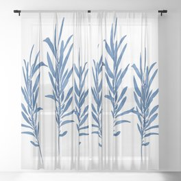 Eucalyptus Branches Blue Sheer Curtain
