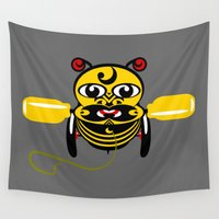 tiki Wall Tapestries featuring Hei Tiki Bee Toy by mailboxdisco