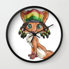 Jamaican Flag Hat Fox Wall Clock