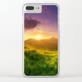 Purple Mountain Sunset Clear iPhone Case