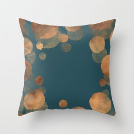 Metal Copper Dots on Emerald Throw Pillow