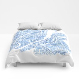 Copenhagen Denmark watercolor city map Comforters