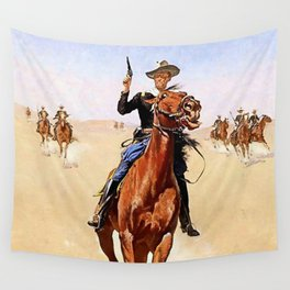 """""""The Trooper"""" Western Art by Frederick Remington Wall Tapestry"""