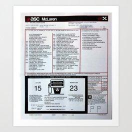 1987 Grand National GNX Window Sticker Build Sheet Art Print