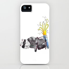Stoned Raccoon Riding a Jetpack iPhone Case
