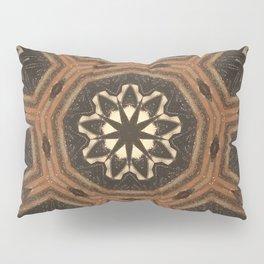 Iron Wood // Rustic Geometric Circle Pattern Mandala Black Beige Wood Cabin Decor Pillow Sham