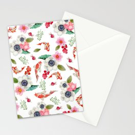 Modern pink red watercolor tropical floral koi fish pattern Stationery Cards