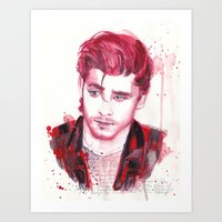 zayn malik Art Prints featuring Zayn Malik by WaterLyrics