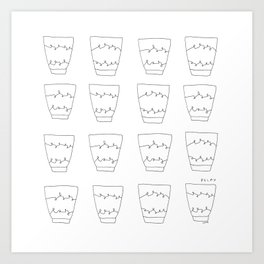 Have Some Tea and Relax - tea cups illustration black white pattern Art Print