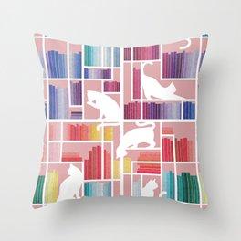 Rainbow bookshelf // blush pink background white shelf and library cats Throw Pillow