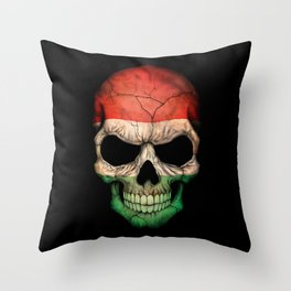 Dark Skull with Flag of Hungary Throw Pillow