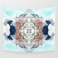 hokusai Wall Tapestries featuring Hokusai Mandala by PatriciaRoberta