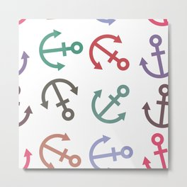 Colorful sea anchor on a white background. Pirates Metal Print