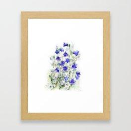Bluebells watercolor flowers, aquarelle bellflowers Framed Art Print