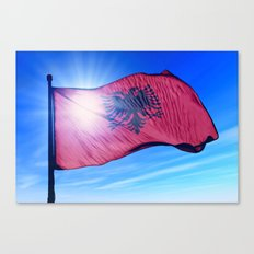 Albania flag waving on the wind Canvas Print