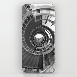 Gray's Harbor Lighthouse Stairwell Spiral Architecture Washington Nautical Coastal Black and White iPhone Skin