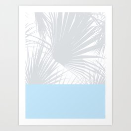 Tropical Pastel Grey Palm Leaves on Soft Blue Art Print
