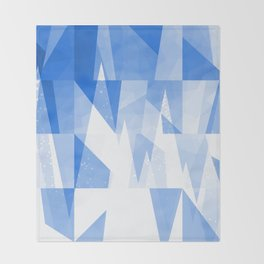 Abstract Blue Geometric Mountains Design Throw Blanket