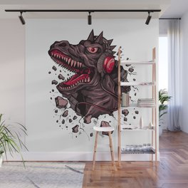 Dino with Headphones Finn Wall Mural