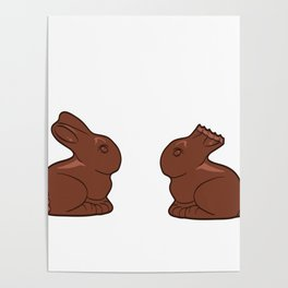 "Two Chocolate Easter bunnies with bites. ""My butt hurts. What?"" T-shirt Design Happy Easter Day Poster"