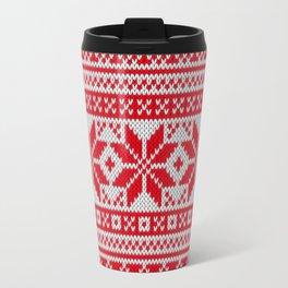 Winter knitted pattern 6 Travel Mug