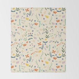 Retro Botanical Throw Blanket