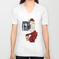 drink V-neck T-shirts featuring DRINK by Ivano Nazeri