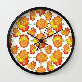 Colorful Stylized Floral Pattern Wall Clock