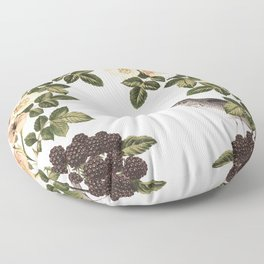 Blackberry Spring Garden - Birds and Bees Cream Flowers Floor Pillow