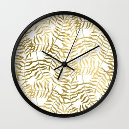 Gold Leaves on White Wall Clock