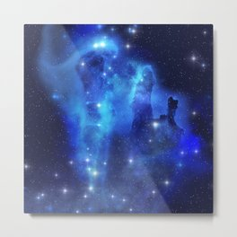 Blue Space Cloud Metal Print