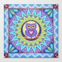 Little Purple Owl Mandala, by Soozie Wray Canvas Print