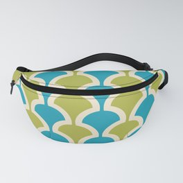 Classic Fan or Scallop Pattern 430 Olive Green and Turquoise Fanny Pack