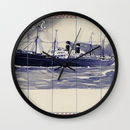 Red Star Line Antwerp New York Delft blue style Wall Clock