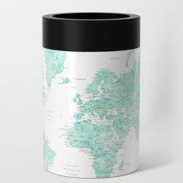 "Light mint watercolor world map, detailed, ""Desie"" Can Cooler"