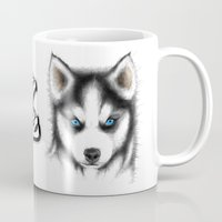 husky Mugs featuring Siberian Husky by Det Tidkun
