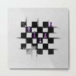 Chessboard and Amethyst  Chess Pieces composition Metal Print