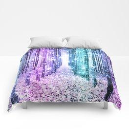 Magical Forest Lavender Aqua Teal Ombre Comforters