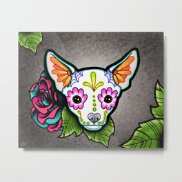 Chihuahua in White - Day of the Dead Sugar Skull Dog Metal Print
