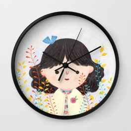 cutie with flower Wall Clock